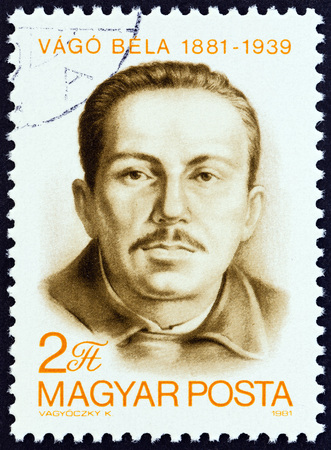 the founder: HUNGARY - CIRCA 1981: A stamp printed in Hungary issued for the Birth Centenary of Bela Vago shows Bela Vago, founder member of Hungarian Communist Party, circa 1981.