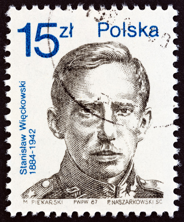 the founder: POLAND - CIRCA 1987: A stamp printed in Poland issued for the 50th anniversary of Polish Democratic Party shows founder Stanislaw Wieckowski, circa 1987.