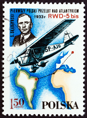 monoplane: POLAND - CIRCA 1978: A stamp printed in Poland from the Aviation History and 50th Anniversary of Polish Aero Club issue shows Stanislaw Skarzynski and RWD-5 bis monoplane, circa 1978.