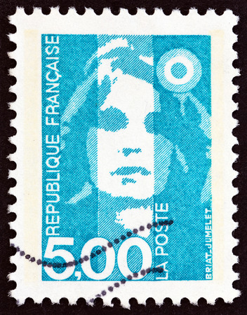 phrygian: FRANCE - CIRCA 1990: A stamp printed in France shows Marianne type Briat, circa 1990.
