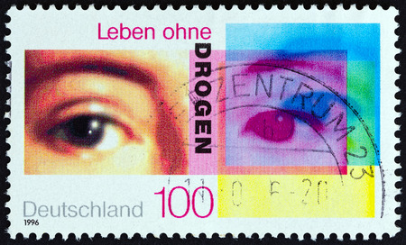 bundespost: GERMANY - CIRCA 1996: A stamp printed in Germany from the The Struggle Against Medicine Abuse issue  shows eyes, circa 1996.