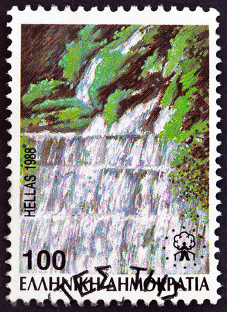 GREECE - CIRCA 1988: A stamp printed in Greece from the Waterfalls issue shows Edessaios river cascades, circa 1988. Editorial