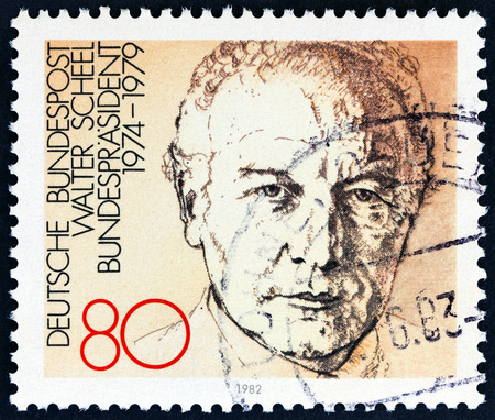 bundespost: GERMANY - CIRCA 1982: A stamp printed in Germany from the Presidents of the Federal Republic issue shows Walter Scheel (1974-1979), circa 1982. Editorial