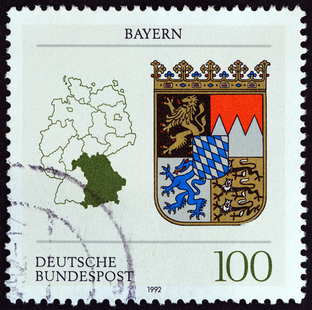 bundespost: GERMANY - CIRCA 1992: A stamp printed in Germany from the German Constituent States issue shows Bavaria, circa 1992. Editorial