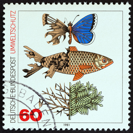 bundespost: GERMANY - CIRCA 1981: A stamp printed in Germany from the Protection of Environment issue shows polluted butterfly, fish and plant, circa 1981. Editorial