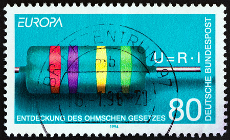 bundespost: GERMANY - CIRCA 1994: A stamp printed in Germany from the Europa issue shows Resistor and Formula (Ohms Law), circa 1994. Editorial