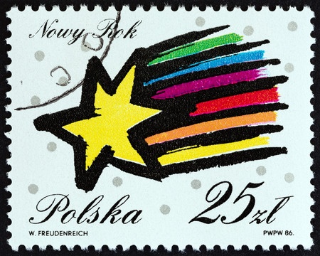 estampilla: POLAND - CIRCA 1986: A stamp printed in Poland from the New Year  issue shows star, circa 1986.