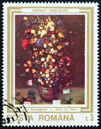 ROUMANIE - CIRCA 1990: timbre, imprimé en Roumanie à partir des « peintures endommagées pendant le soulèvement » question montre Vase de fleurs (Jan Brueghel, l'aîné), vers 1990. Banque d'images - 64125617