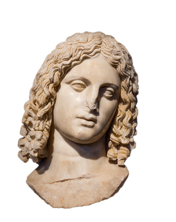 alexandros: Marble head of Alexander the Great isolated