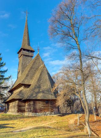 bucuresti: The Dragomiresti wooden church in Village Museum, Bucharest, Romania Editorial