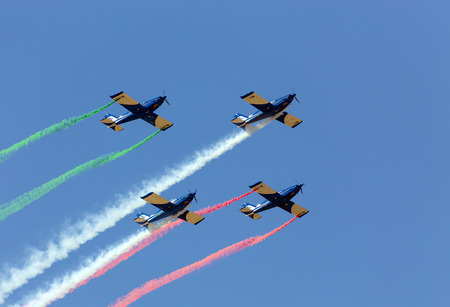 Aerobatic team in formation
