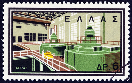 hydroelectric station: GREECE - CIRCA 1962: A stamp printed in Greece from the National Electrification Project issue shows Agras river Hydro-electric station, circa 1962. Editorial