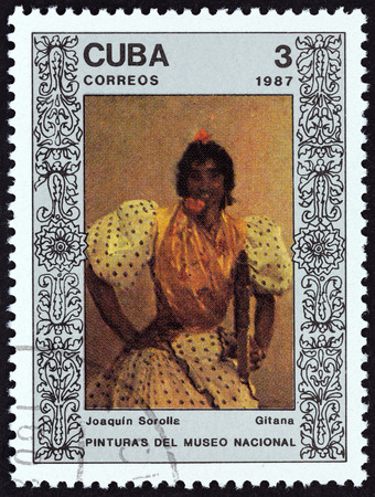 CUBA - CIRCA 1987: A stamp printed in Cuba from the National Museum Paintings issue shows Gitana (Joaquin Sorolla), circa 1987. Editorial