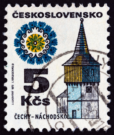estampilla: CZECHOSLOVAKIA - CIRCA 1972: A stamp printed in Czechoslovakia from the Regional Buildings issue shows watchtower, Nachodsko, circa 1972. Editorial