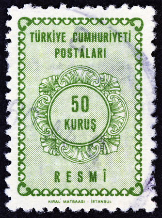 estampilla: TURKEY - CIRCA 1964: A stamp printed in Turkey shows numeric value, circa 1964. Editorial