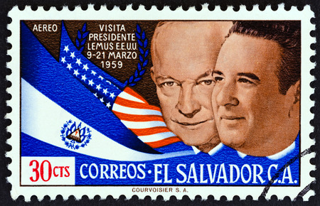 EL SALVADOR - CIRCA 1959: A stamp printed in El Salvador issued for the Visit of President Jose Maria Lemus to U.S shows Presidents Eisenhower and Lemus, circa 1959. Editorial