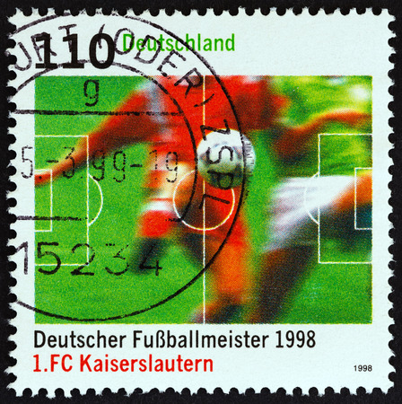 GERMANY - CIRCA 1998: A stamp printed in Germany from the German Football Champions issue shows F.C. Kaiserslautern, circa 1998.