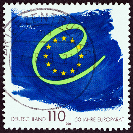 bundespost: GERMANY - CIRCA 1999: A stamp printed in Germany issued for the 50th anniversary of Council of Europe shows emblem, circa 1999. Editorial