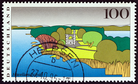bundespost: GERMANY - CIRCA 1995: A stamp printed in Germany from the Landscapes issue shows River Havel, Berlin, circa 1995.