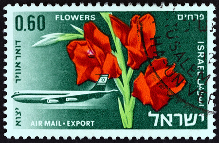 ISRAEL - CIRCA 1968: A stamp printed in Israel from the Israeli Exports issue shows Gladioli (Flowers), circa 1968.