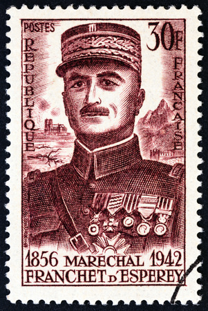centenary: FRANCE - CIRCA 1956: A stamp printed in France issued for the birth centenary of Marshal dEsperey shows Louis Franchet dEsperey, circa 1956.