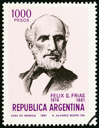 timbre: ARGENTINA - CIRCA 1981: A stamp printed in Argentina from the Celebrities Anniversaries issue shows Felix G. Frias writer and politician, death centenary, circa 1981.
