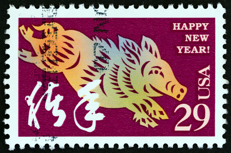 chinese postage stamp: USA - CIRCA 1994: A stamp printed in USA from the Chinese New Year issue shows Year of the Boar, circa 1994. Editorial