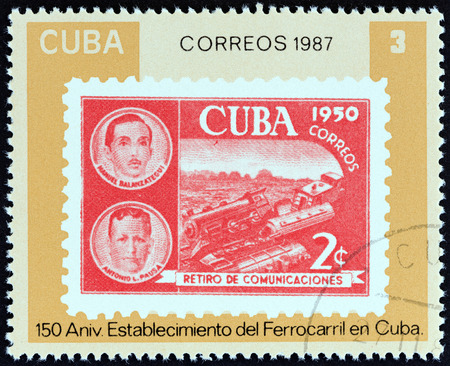 CUBA - CIRCA 1987: A stamp printed in Cuba from the 150th anniversary of Cuban Railway issue shows 1950 2c. train stamp, circa 1987.