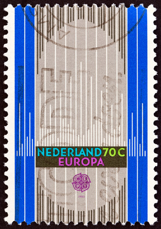 nederlan: NETHERLANDS - CIRCA 1985: A stamp printed in the Netherlands from the Europa. Music Year issue shows Organ, circa 1985.