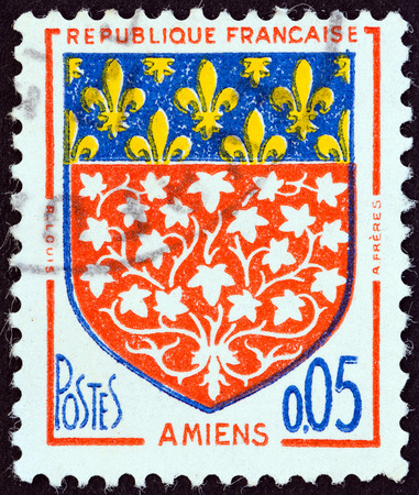 postes: FRANCE - CIRCA 1960: A stamp printed in France from the Arms of French Towns issue shows Oran coat of arms, circa 1960.