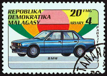 MADAGASCAR - CIRCA 1993: A stamp printed in Madagascar from the Automobiles issue shows BMW, circa 1993. Editorial