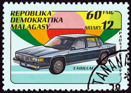 MADAGASCAR - CIRCA 1993: A stamp printed in Madagascar from the Automobiles issue shows Cadillac, circa 1993. Editorial