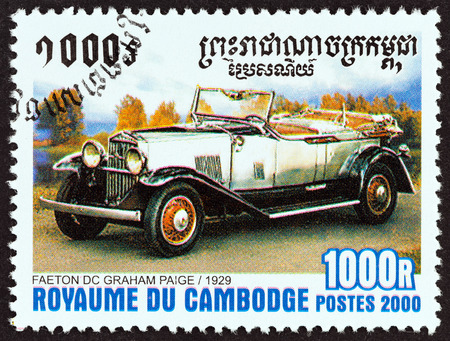 cambodge: CAMBODIA - CIRCA 2000: A stamp printed in Cambodia from the International Stamp Exhibition Espana 2000, Madrid - Cars  issue shows Faeton DC Graham Paige, 1929, circa 2000.