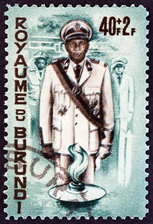 estampilla: BURUNDI - CIRCA 1966: A stamp printed in Burundi shows Prince Rwagasore, circa 1966.