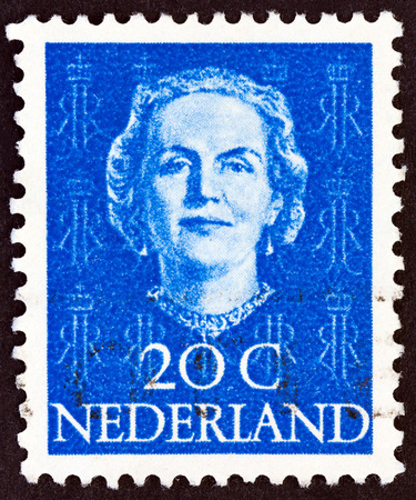 NETHERLANDS - CIRCA 1949: A stamp printed in the Netherlands shows Queen Juliana, circa 1949. Editorial