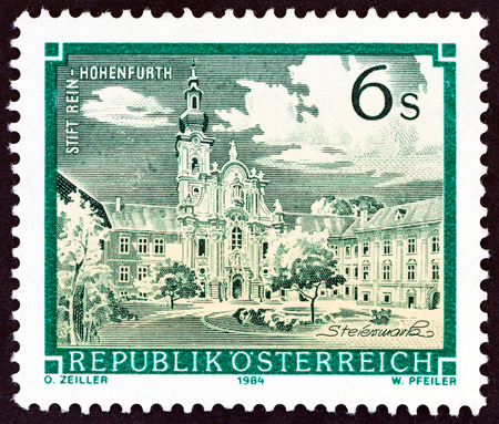 abbeys: AUSTRIA - CIRCA 1984: A stamp printed in Austria from the Monasteries and Abbeys issue shows Rein Monastery, circa 1984.