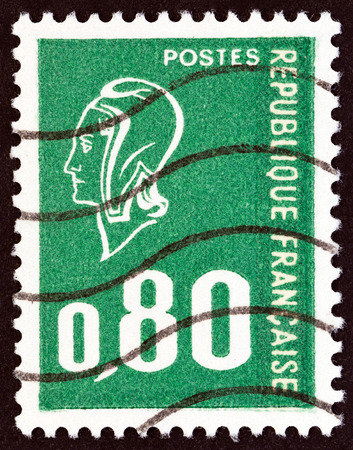 phrygian: FRANCE - CIRCA 1976: A stamp printed in France shows Marianne type Bequet, circa 1976.