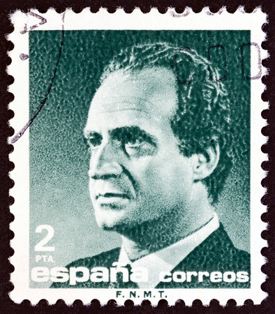 estampilla: SPAIN - CIRCA 1986: A stamp printed in Spain shows King Juan Carlos I, circa 1986.