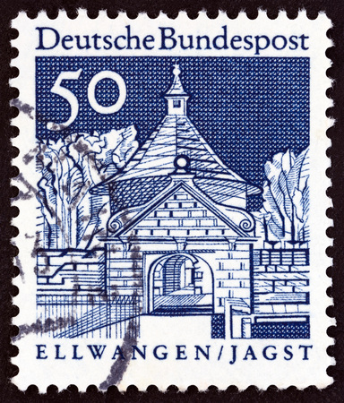 bundespost: GERMANY - CIRCA 1966: A stamp printed in Germany from the Historic Buildings issue shows Castle Gate, Ellwangen, circa 1966. Editorial