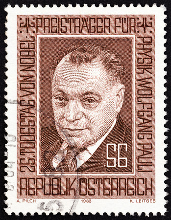 AUSTRIA - CIRCA 1983: A stamp printed in Austria issued for the 25th death anniversary of Wolfgang Pauli shows Nobel Prize winner for Physics Wolfgang Pauli, circa 1983.