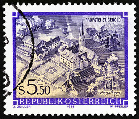 abbeys: AUSTRIA - CIRCA 1986: A stamp printed in Austria from the Monasteries and Abbeys issue shows St. Gerolds Priory, Vorarlberg, circa 1986.
