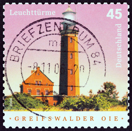 bundespost: GERMANY - CIRCA 2004: A stamp printed in Germany from the Lighthouses issue shows Greifswalder Oie, Baltic Sea, circa 2004.