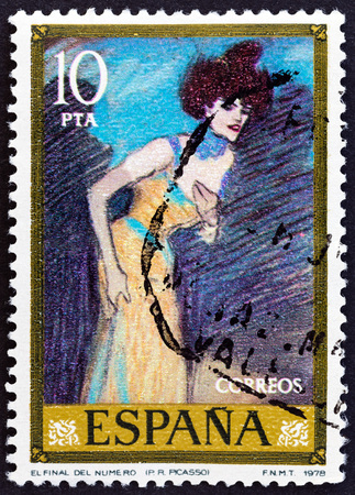 pablo picasso: SPAIN - CIRCA 1978: A stamp printed in Spain from the Stamp Day and Picasso Commemoration issue shows The End of the Number (Pablo Picasso), circa 1978.