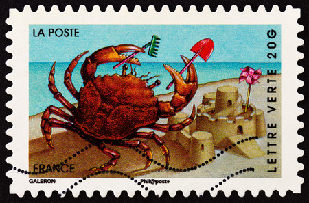 postes: FRANCE - CIRCA 2014: A stamp printed in France from the Holiday issue shows crab, circa 2014.