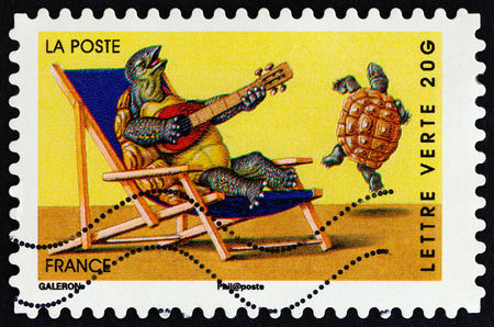 postes: FRANCE - CIRCA 2014: A stamp printed in France from the Holiday issue shows turtles, circa 2014. Editorial