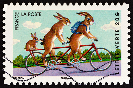 FRANCE - CIRCA 2014: A stamp printed in France from the Holiday issue shows rabbits, circa 2014.