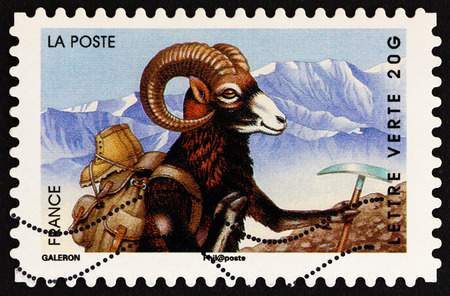 FRANCE - CIRCA 2014: A stamp printed in France from the Holiday issue shows ram, circa 2014. Editorial