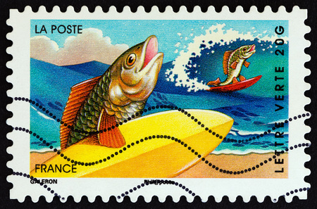 FRANCE - CIRCA 2014: A stamp printed in France from the Holiday issue shows fishes, circa 2014. Editorial