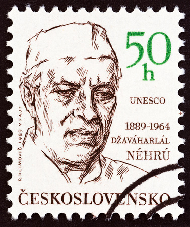 CZECHOSLOVAKIA - CIRCA 1989: A stamp printed in Czechoslovakia issued for the 100th birth anniversary of Jawaharlal Nehru shows Indian statesman Jawaharlal Nehru, circa 1989.