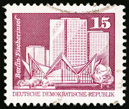 GERMAN DEMOCRATIC REPUBLIC - CIRCA 1973: A stamp printed in Germany shows Apartment Blocks, Fishers Island, Berlin, circa 1973.